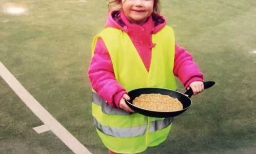 Daisy enjoying the pancake race