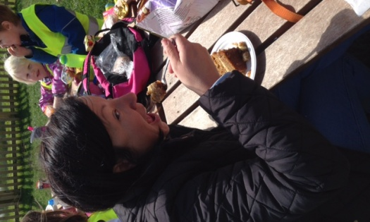 Sarah Hamilton enjoying cake on our trip to Odd's Farm last year